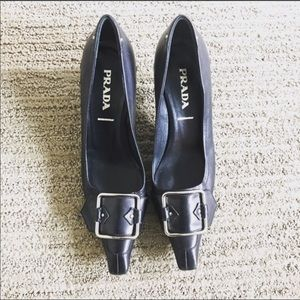 "Prada made in Italy buckle leather 2"" heel pumps"